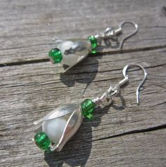 Snowdrop earrings  white and emerald by WychwoodDreams on Etsy
