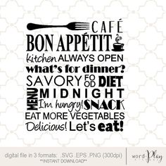 SVG Kitchen word collage Bon Appetit PNG EPS by designsbywordplay