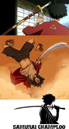 La katana de Mugen (anime Samurai Champloo) se llama Tifón y es un arma extraña, un híbrido con la forma de una katana, el filo de una espada y el mango de un sai. Mugen la ocupa para atacar en todas direcciones mientras patea estilo capoeira. Tiene filo por ambos lados de la hoja, lo que la define como espada y no sable, que sería el caso de una katana. Además posee el mango característico del sai, que es bastante útil para trabar las espadas rivales.