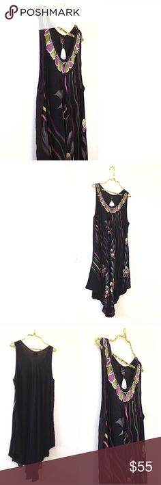 """Black Asymmetrical Dress Gold Pink Green Silver NEW Boho Gipsy Black, painted flowers, semi embroidered Midi Asymmetrical / A Line Knee High Style. Soft rayon. Sleeveless pullover slip on, very comfortable, flattering for beach pool party; cruise swim coverup, travel, vacation, around the house lounge, shopping, casual days. Stylish it up or dress it down • Great Christmas gift • Size Free fits most, middle neck down 40"""", armpit to armpit 17"""", it doesn't look huge, but it is super roomie •…"""