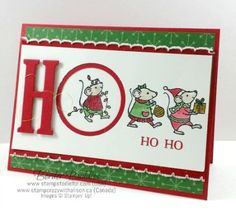 Border Buddy Saturday - Merry Mice Ho Ho Ho (Stamps to Die For) Stamped Christmas Cards, Christmas Card Crafts, Christmas Cards To Make, Noel Christmas, Xmas Cards, Holiday Cards, Christmas Greetings, Christmas Ideas, Hand Made Greeting Cards