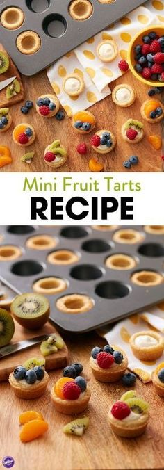 Make these delicious mini fruit tart recipe for mom this Mother's Day! This delicious, easy recipe pairs the pop of fresh, mouthwatering berries inside the yummy crisp sugar cookie dough crust, all along with the creamy tart filling. These mini tarts are Mini Desserts, Dessert Recipes, Recipes Dinner, Fruit Recipes, Party Desserts, Wedding Desserts, Fruit Tart Recipes, Easy Fruit Desserts, Mini Party Foods