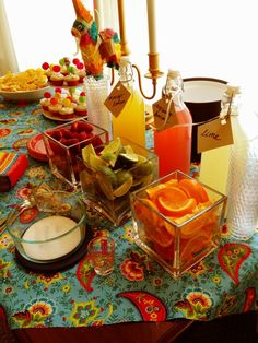 Mexican Themed Bridal Shower. Margarita Bar with delicious organes, limes and strawberries