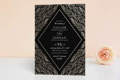 """""""Feathered Foliage"""" - Elegant, Classical Foil-pressed Wedding Invitations in Onyx by blackberry graphics."""