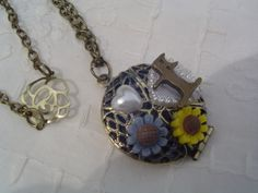 Starting bid $5 Sweet kitty locket necklace by Mixed Media