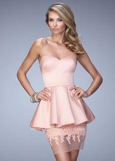 La Femme 21817 Satin Peplum Dress