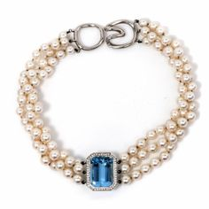 Tiffany & Co. 20.82cts Aquamarine Diamond Pearl Platinum Choker Necklace | Your #1 Source for Jewelry and Accessories