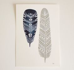 Feather Art Painting - Watercolor Art - Large Archival Print - 11x14 Mila Feathers. $40.00, via Etsy.