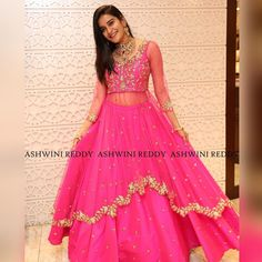 At a recent event Jenny Honey was seen in a pink Indo-western kurta and skirt outfit by Ashwini Reddy. She wore a pair of earrings . Designer Gowns, Indian Designer Wear, Long Gown Dress, Long Gowns, Bride Sister, Indian Party Wear, Indian Gowns, Party Wear Dresses, Half Saree