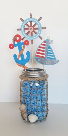 Baby shower centerpieces for boys nautical table decorations 57 ideas for 2 Baby Shower Gifts For Boys, Baby Shower Decorations For Boys, Baby Shower Themes, Baby Boy Shower, Shower Ideas, Outdoor Decorations, Table Decorations, 1st Birthday Centerpieces, Baby Shower Table Centerpieces