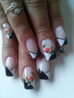 Unhas Francesinhas com Desenhos Acryl Nails, Aycrlic Nails, Pink Nail Art, Cute Nail Designs, Flower Nails, Beautiful Nail Art, Nail Arts, Manicure And Pedicure, Diy Beauty