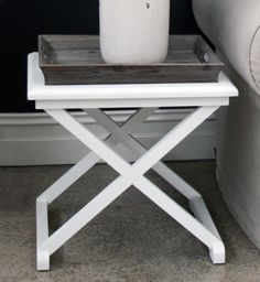 Louis XV Pebble Beach Side Table - Driftwood Grey & Antique White