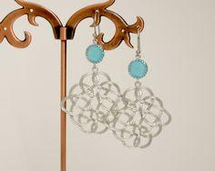 Celtic Knot Earrings Silver Celtic Knot Earrings Silver Earrings Blue Silver Earrings Chandelier Earrings Silver Long Earrings by FranceProvence #TrendingEtsy