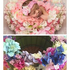 The sweetest baby in my New Prop. Flower Basket Cover  This stretchy cover can fit over most of your newborn baskets or containers. Easy to take to photo shoots since its flexible  This is a great way to change a shot on the fly.