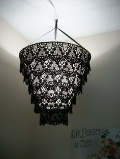 Venise Lace Faux Chandelier Pendant Lamp Shade 'Black'(((((will be on vacation on July from cokiethebaby on Etsy.