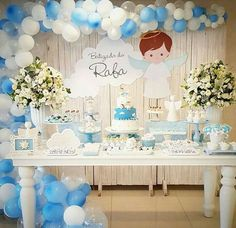 New baby shower varon ideas candy bars Ideas Boy Baptism Centerpieces, First Communion Decorations, Christening Decorations, Boy Baby Shower Themes, Baby Shower Parties, Baby Boy Shower, Baptism Themes, Baptism Party, Ideas Bautismo
