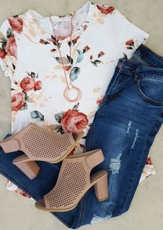38 casual denim outfits for spring 2019 – Mode richtig kombinieren – Outfit Jeans, Outfit Chic, Denim Outfits, Mode Outfits, Fall Outfits, Fashion Outfits, Womens Fashion, Floral Shirt Outfit, Casual Summer Outfits With Jeans