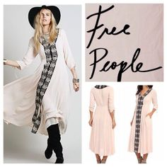 Free People Nwt Soft Pink Embroidered Trim Dress