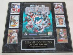 """Miami Dolphins All Time Greats 6 Card Collector Plaque by J & C Baseball Clubhouse. $54.99. This 6 card collectors plaque measures 15""""x18"""" and includes a fully licensed 8""""x10"""" photo that IS REMOVEABLE and 6 cards. A GREAT ITEM for any sports fan!"""