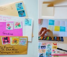 Do you remember playing 'post-office' and how much fun it was sticking the stamps to the enveloppes? I think it probably would have been even more fun when the stamps were made by yourself? Teri from Giddy Giddy and her...