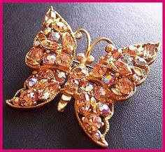 """Vintage Butterfly Brooch or Pin w Champagne Pink AB Rhinestones Gold Metal 2 1/4"""" CIJ Sale. $24.50, via Etsy."""
