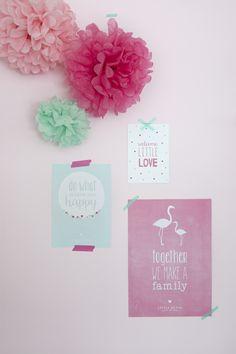 Little Dutch ♥ Posters & cards ♥  #littledutch #poster #card #flamingo #pompoms #pink #mint #love
