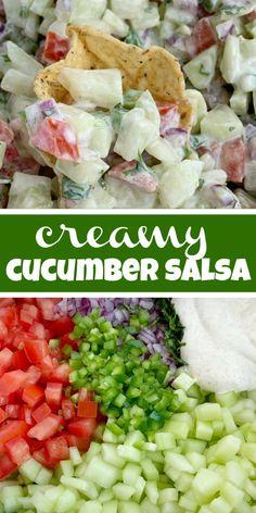 Cucumber Salsa - One Summer Recipes, Easy Dinner Recipes, Appetizer Recipes, Easy Meals, Meat Appetizers, Dinner Ideas, Dessert Recipes, Cucumber Salsa, Cucumber Recipes