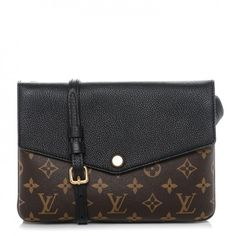 This is an authentic LOUIS VUITTON Monogram Twice Pochette in Noir Black. This crossbody is crafted of monogram toile canvas with a textured black leather flap.