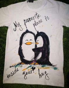 Hand painted Tshirt with penguins. Penguins love by palettePandora
