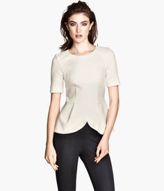 White Peplum Top (in textured jersey with a sheen)