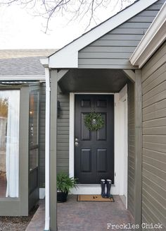 The siding's paint color is Benjamin Moore Mohegan Sage; trim is Benjamin Moore White Dove. Would love this with a deep red door. Exterior Gray Paint, Exterior Paint Colors For House, Paint Colors For Home, Exterior Colors, Exterior Design, White Farmhouse Exterior, Dark Paint Colors, Grey Houses, Reno