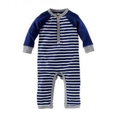 Caravan Stripe Henley Romper | Inspired by traditional Berber wraps, the stripes on this little Henley keep things cool.