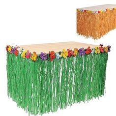 HAWAIIAN GRASS HULA TABLE SKIRT Luau Beach Party w//Tropical Leis Flowers #AA57