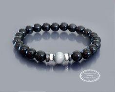 Black tourmaline bracelet Men black bracelet by EmpathyGifts