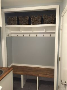 New front closet remodel garage Ideas Closet Bench, Front Hall Closet, Hallway Closet, Ikea Closet, Closet Bedroom, Bedroom Storage, Closet To Mudroom, Hallway Storage, Closet Shelves