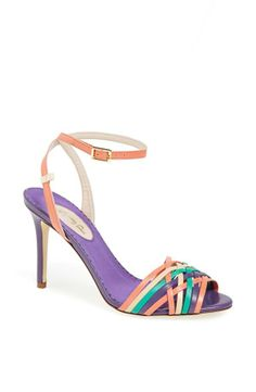 Love the green, purple and pink straps on this sandal.