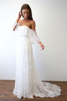 Off-the-shoulder wedding dress Bohemia Lace 2018 A Line Boho Beach Bridal Gown #Handmade #BallGown