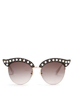 00baec03bd0 Cat-eye pearl-embellished metal sunglasses