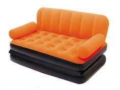 2-in-1 multi-max AIRcouch oranje ; opblaas slaapbank met pomp