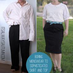 it's always autumn - itsalwaysautumn - refashion: boring menswear to sophisticated skirt andtop