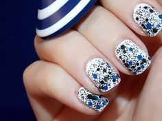 black and blue speckle on white