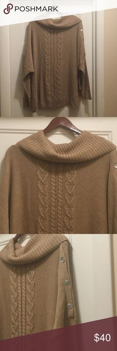 $30 today! JustFab cowl neck sweater NWT NWT camel colored sweater with cowl neck and dolman sleeves. Button down side of neck and one sleeve of sweater. Size medium but very loose fitting, could easily fit a large JustFab Sweaters