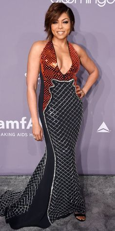 Taraji P. Henson looked flawless at the amfAR Gala in New York while wearing a David Koma dress decked out in crystals and a plunging neckline. Taraji P Henson, Spaghetti Strap Dresses, Red Carpet Fashion, Latest Fashion For Women, Ladies Fashion, Buy Dress, Beautiful Gowns, Nice Dresses, Awesome Dresses