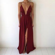 Sexy Deep V Neck Burgundy Chiffon Prom Dress,Slit Side Long Party Dress,Evening Dress