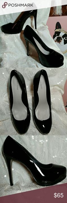 """Pour la Victoire Irina Platform Pump - Worn Once! A concealed platform maintains the clean lines of this chic pump!   Wrapped skinny heel.  Patent leather upper/leather lining and sole.  Approx. heel height:  4-3/4"""" with 1-1/4"""" platform (comparable to a 3-1/2"""" heel) Pour la Victoire Shoes Heels"""