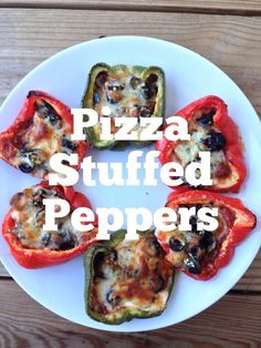 Pizza Stuffed Peppers! Fat loss-friendly pizza?!  YES PLEASE!  Low-carb, high protein, and super-simple.  Kid-friendly too:)