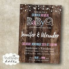 Gender Reveal BBQ (BaByQ) Party Digital Invitation Printable Digital Invitation NO PHYSICAL ITEM WILL BE SHIPPED TO YOU All our listings are for