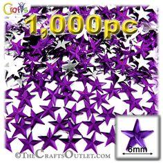 1000-pc Acrylic foil Flatback Star shape Rhinestones 6mm Purple