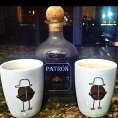 Cinna-coffee tequila shot: Patron XO, cream, cinnamon-sugar.