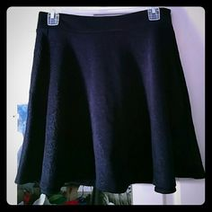 Navy Blue Flare Skirt Navy blue Dream Out Loud skirt with beautiful embroidered design. Has zipper in the back (5.5 inches long) with button on top. Does not have elastic.  14 inches across 17 inches long NO Trades NO PayPal Dream Out Loud Skirts Circle & Skater